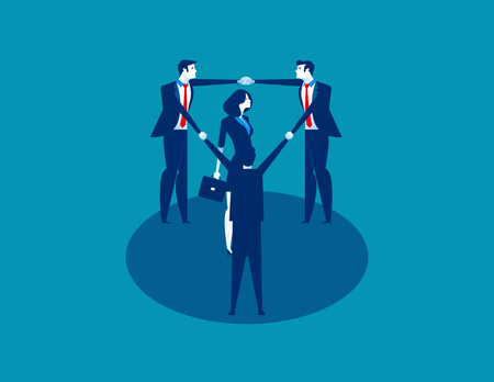 Teamwork. Business person in a circle around. Concept business vector illustration. 일러스트