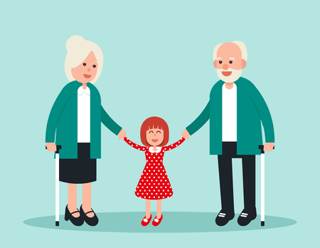 Family. Two elderly with grandchild. Concept elderly vector illustration. Design flat character. 일러스트