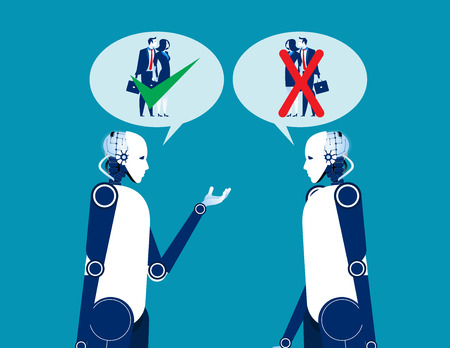 Two robot talking about human. Concept business vector illustration. Automation technology.