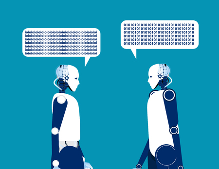 Two robot talking. Concept business vector illustration. Automation technology.