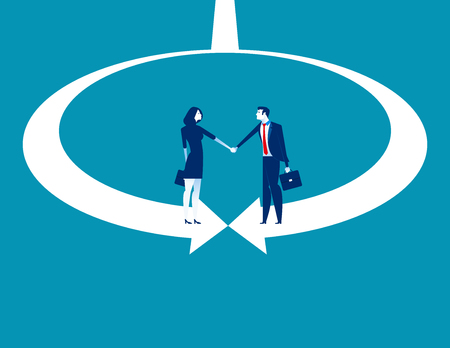 Business and partner shaking hand. Concept business vector illustration.