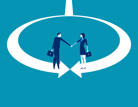 Business and partner shaking hand. Concept business vector illustration. Imagens - 124687922