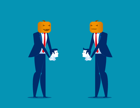Halloween. Business people and pumpkinhead, holding head. Concept business vector illustration. 일러스트