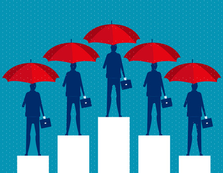Business people and red umbrella. Concept business vector illustration.