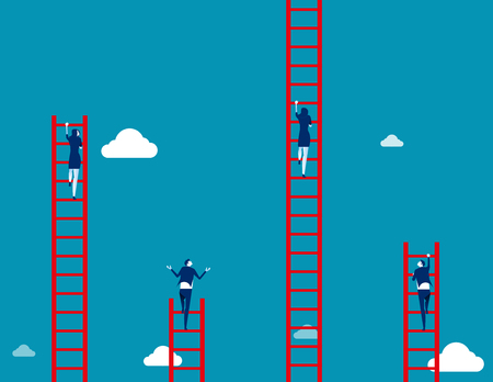 Business team climbs to the ladder. Concept business vector illustration. 일러스트