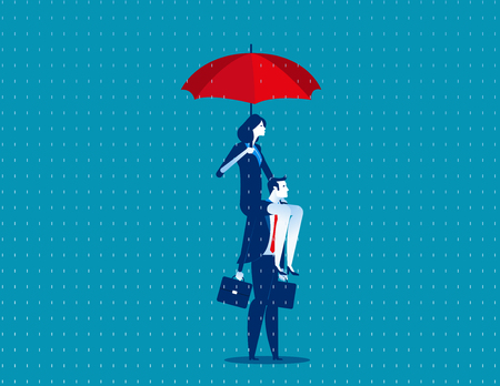 Business people and umbrella. Concept business vector illustration.