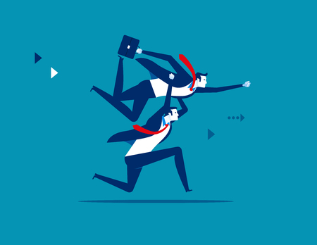 Business people lifting colleague. Concept business vector illustration.