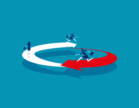 Business people running on circled arrow. Concept business vector illustration. 일러스트