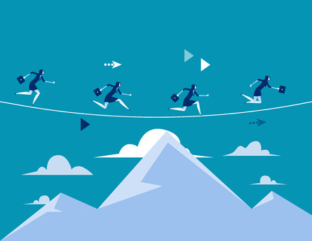 Business people running over the mountain. Concept business vector illustration. Flat style design.