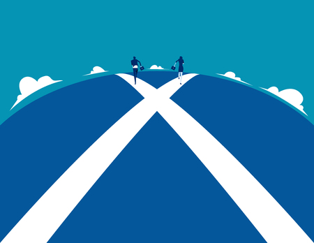 Business person running on crossroads. Concept business vector illustration.
