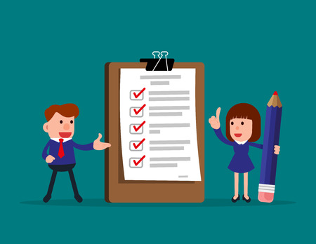 Happy people. Business team and completed checklist. Concept business vector illustration.