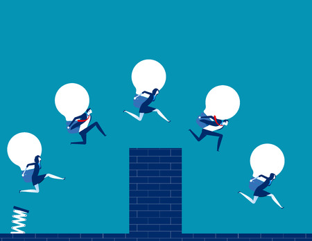 Business team holding bulb and jump over the wall. Concept business vector illustration. Standard-Bild - 124519194