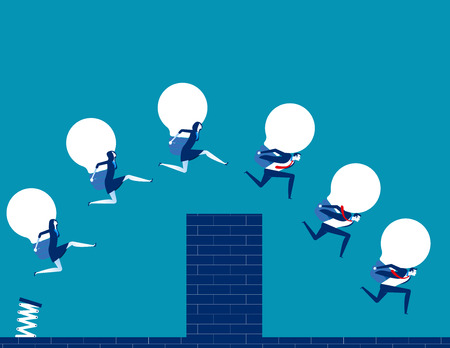 Business team holding bulb and jump over the wall. Concept business vector illustration.