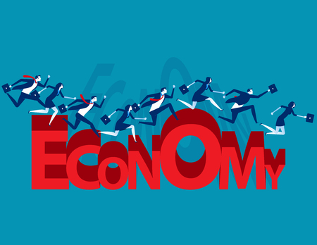Business team running economy shape. Concept business vector illustration.