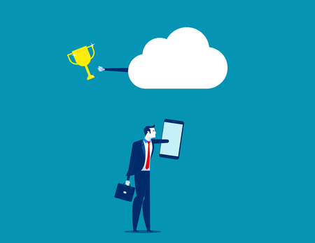 Business with cloud network technology. Concept business technology vector illustration.