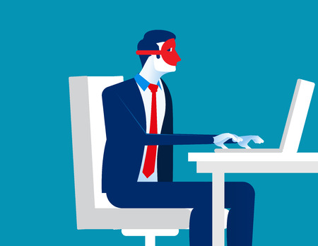 Conceal. Man wearing mask play computer. Concept business vector illustration.