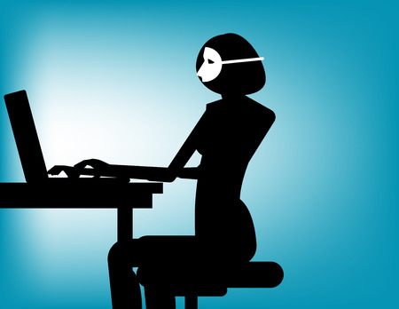 Conceal. Woman wearing mask play computer. Concept business vector illustration.