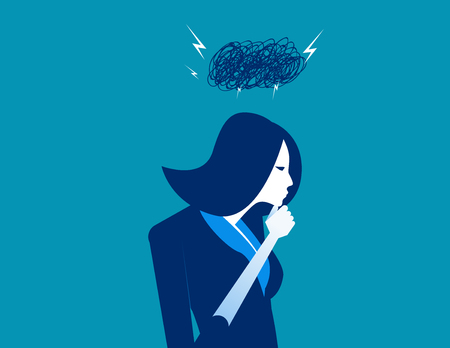 Problems. Dark cloud on businesswoman head. Cloud lightning storm. Concept business vector illustration.