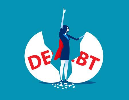 Debt Management. Super businesswoman punch cracked big debt. Concept business vector illustration.  イラスト・ベクター素材