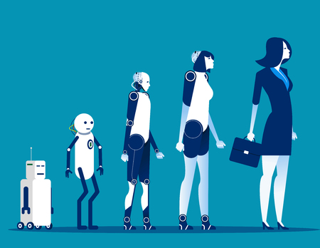 Evolution android. Concept cyborg technology vector illustration. 일러스트