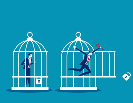 Freedom concept. Business team locked and key free himself from cage. Concept business vector illustration. Ilustração