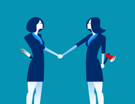 Handshake and weapons. Business partnership with rivalry and distrust. Concept business vector illustration.