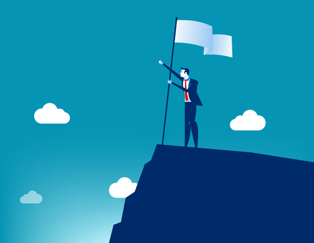 Businessman holding flat and standing on top mountain. Concept business vector illustration.