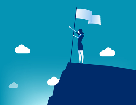 Businesswoman holding flat and standing on top mountain. Concept business vector illustration.