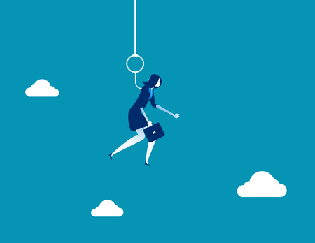 Businesswoman hung on hook. Concept business vector illustration.