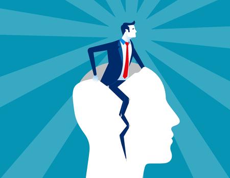 Rebirth. Businessman out form human head. Concept business vector illustration. Ilustração
