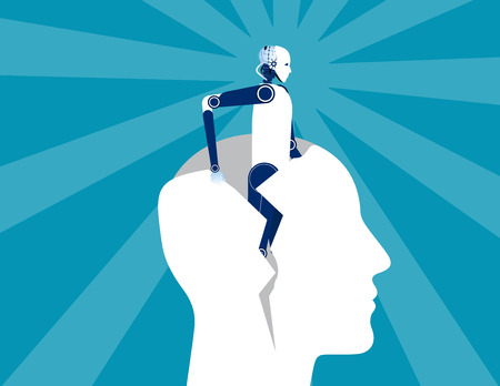 Rebirth. Robot out form human head. Concept business vector illustration. Иллюстрация