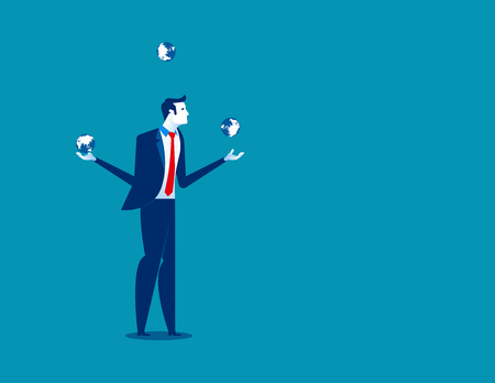 Businessman juggling with planet earth globes. Concept business vector illustration.