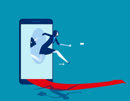 Businesswoman jumping out of the smart phone. Concept business starting online vector illustration. 일러스트