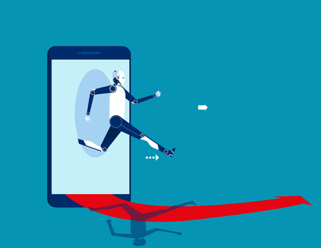 Robot jumping out of the smart phone. Concept business starting online vector illustration.