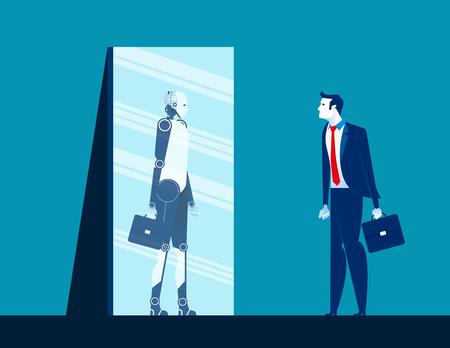 Hombre de negocios de pie y mirando el cuerpo en el espejo de la reflexión del robot. Ilustración de vector de concepto empresarial. Estilo de diseño plano Ilustración de vector