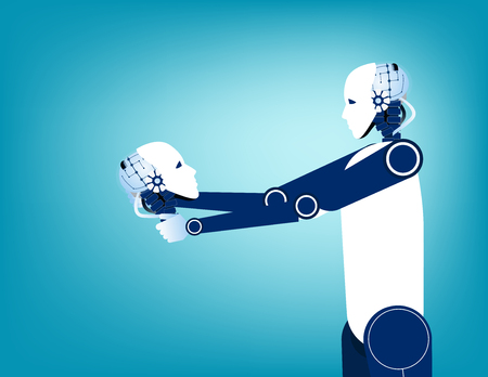 Android looking at robot skull in hand. Concept technology vector illustration. Stockfoto - 120142322