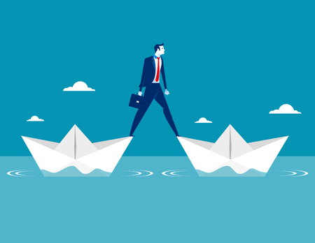 Businessman standing two paper boat. Concept business vector illustration. Ilustrace
