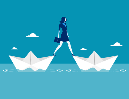 Businesswoman standing two paper boat. Concept business vector illustration.
