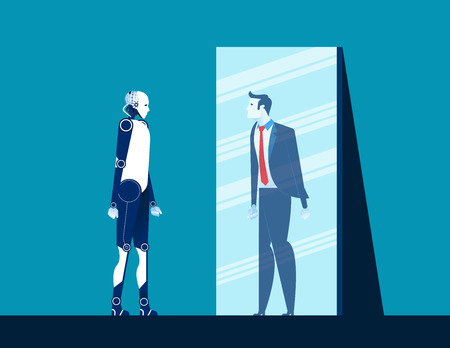 Robot standing and looking body in mirror of men reflection. Concept business vector illustration. Flat design style