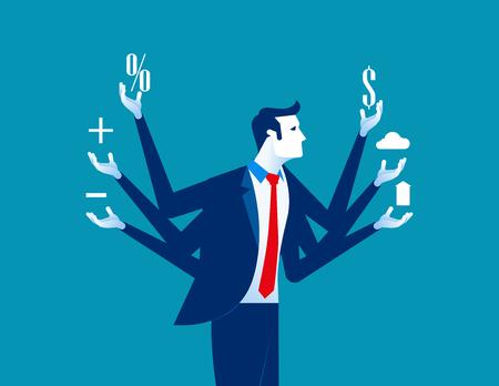 Businessman and multitasking. Concept business vector illustration. Vektorové ilustrace