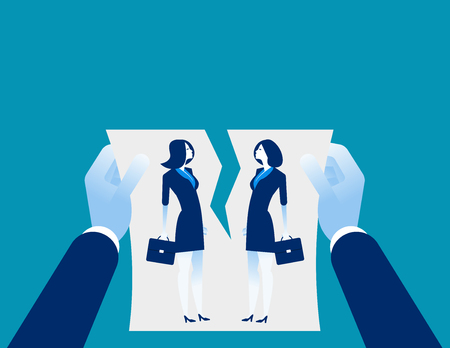 Relationship difficulties. Hand cancellation agreement. Concept business vectorillustration.