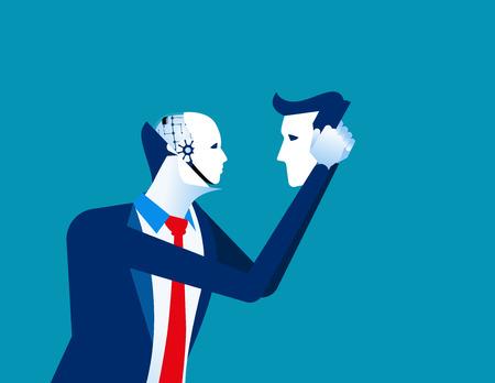 Robot in businessmen head. Concept business technology vector illustration.