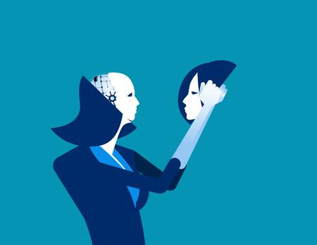 Robot in businesswomen head. Concept business technology vector illustration. 일러스트