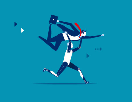 Robot lifting businessman. Concept business vector illustration. 일러스트