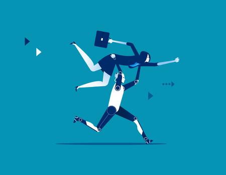 Robot lifting businesswoman. Concept business vector illustration.