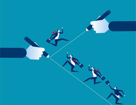 Businessman running on the line. Concept business vector illustration. Design flat style. 일러스트