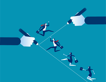 Business team running on the line. Concept business vector illustration. Design flat style.