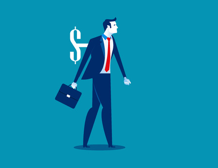 Businessman and money shaped wind-up key in his back. Concept business vector illustration. 일러스트