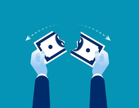Hands shredded dollar. Concept business currency vector illustration.