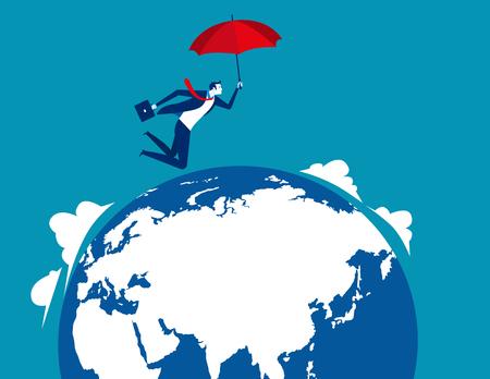 Businessman skydiving. Concept business vector illustration.